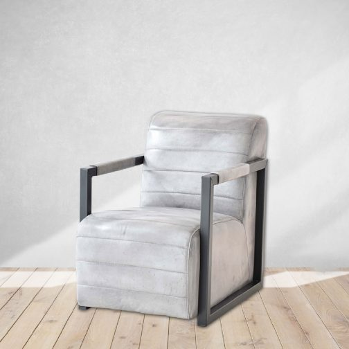 Vintage Grey Leather Club Chair Cozy Home Dubai