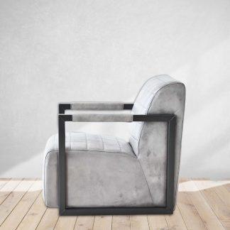 Vintage Grey Leather Club Chair
