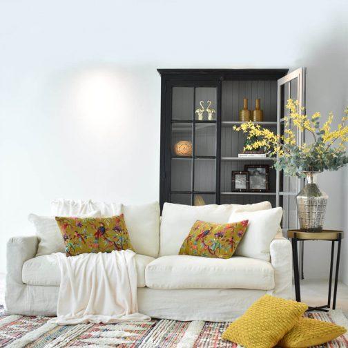 Belgian 3 Seater Linen Sofa in White