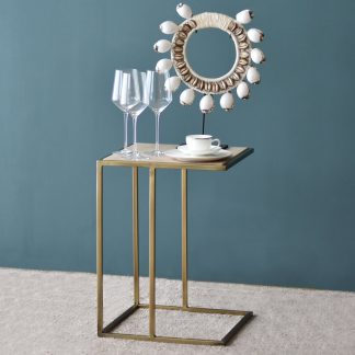 Aimee Side Table with Golden Legs