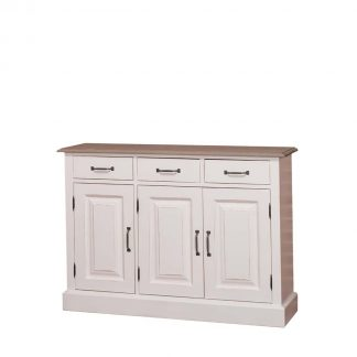 Solid pine hallway furniture with 3 drawers and a shelf behind the 3 doors. Dimensions: Length: 120 cm / Depth: 35 cm / Height: 85 cm