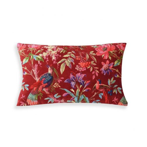 Birds-in-Paradise-Cushion-Red-cozy-home