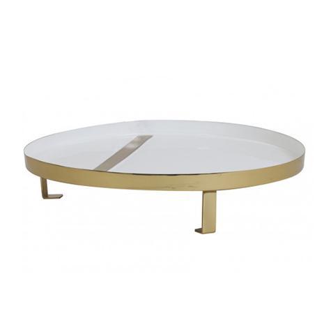 White-Gold Enamel Tray