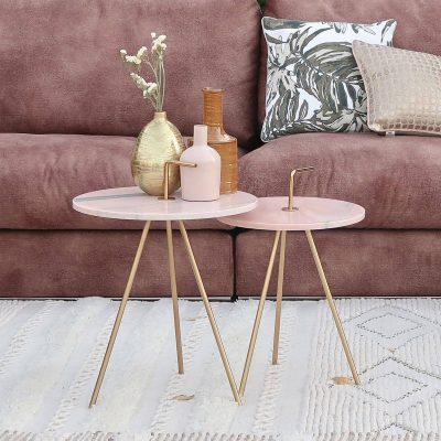Marble Pink-Gold Table 36 x 42 cm