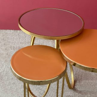 Estella Enamel Orange Set of 2 Table
