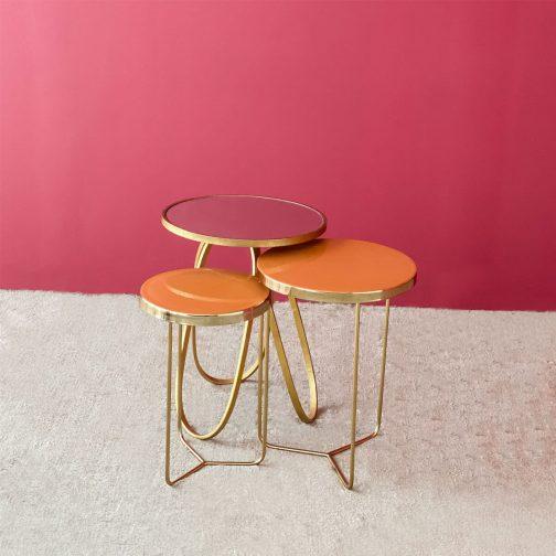 Enamel Orange Set of 2 Table