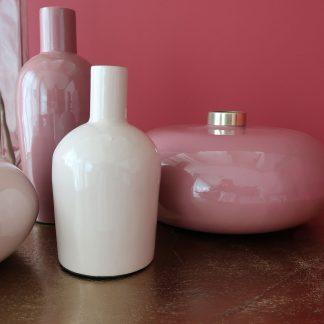 enamel vase in glossy pink