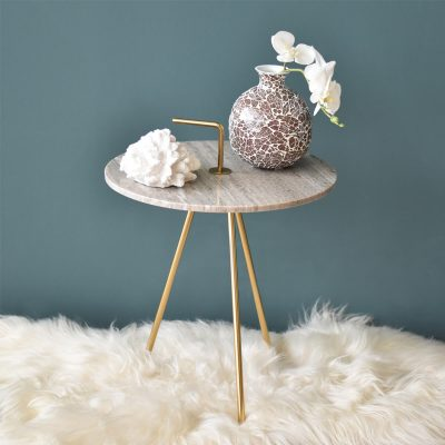 Marble Grey-Gold Table 42.5 x 46 cm