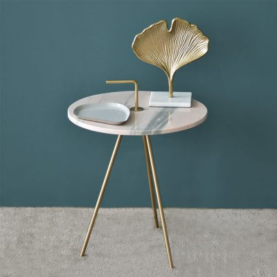 Marble Pink-Gold Table 42.5 x 46 cm