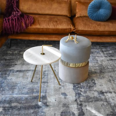 Marble White-Gold Table 36 x 42 cm