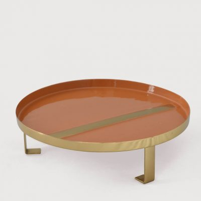 Orange-Gold Enamel Tray