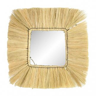 Square Wicker Mirror