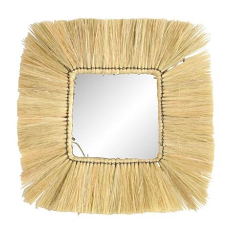 Square Wicker Mirror