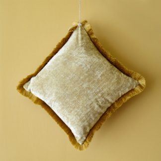 Sea Gold Cushion with Fringes